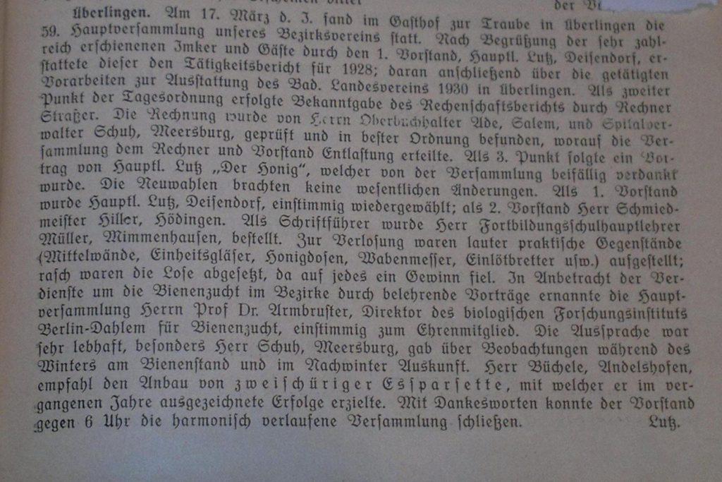 Auszug aus der Jahreshauptversammlung 1929.